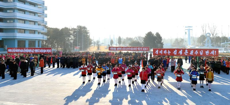 PYONGYANG, Jan. 8 Photo provided by Korean Central News Agency (KCNA) on Jan. 8, 2015 shows a ceremony of the Songdowon International Children's Winter Camp taking place recently in the ..