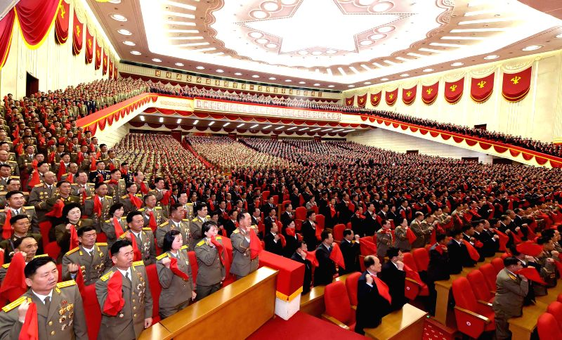 PYONGYANG, May 12, 2016 - Photo provided by Korean Central News Agency (KCNA) on May 12, 2016 shows a meeting taking place at the April 25 House of Culture in Pyongyang on May 11 to adopt the letter ...