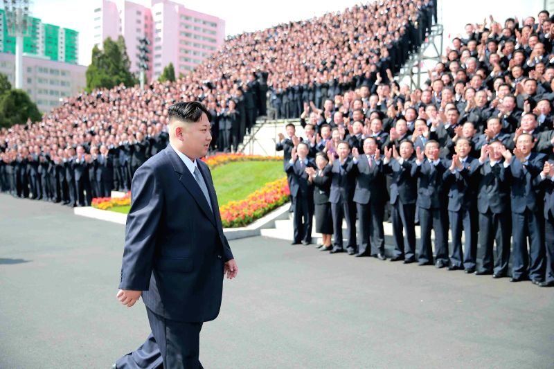 PYONGYANG, May 14, 2016 - Photo provided by Korean Central News Agency (KCNA) on May 13, 2016 shows top leader of the Democratic People's Republic of Korea (DPRK) Kim Jong Un having a photo session ...
