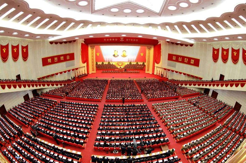 PYONGYANG, May 8, 2016 - Photo provided by Korean Central News Agency (KCNA) on May 8, 2016 shows the second-day sitting of the Seventh Congress of the Workers' Party of Korea (WPK) at the 4·25 ...