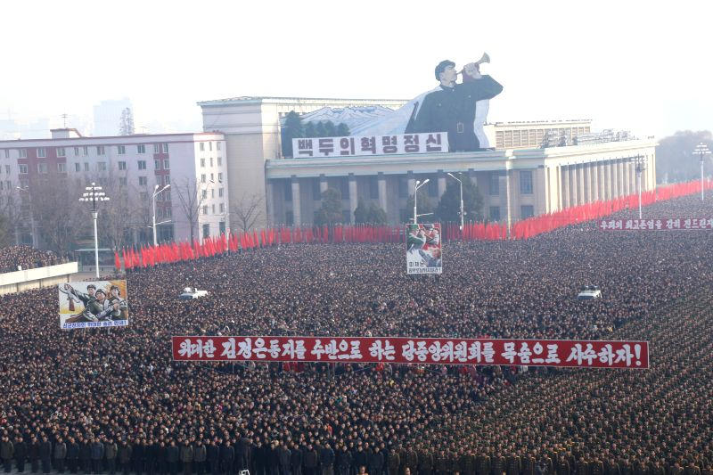 People attend a demonstration against a UN human rights resolution at Kim Il-sung Square in Pyongyang, Democratic People's Republic of Korea (DPRK), Nov. 25, 2014. The Third Committee of ..