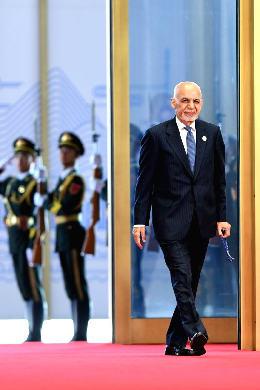 QINGDAO, June 10, 2018 - Afghan President Ashraf Ghani arrives for a session of the 18th Shanghai Cooperation Organization (SCO) summit in Qingdao, east China's Shandong Province, June 10, 2018. ...