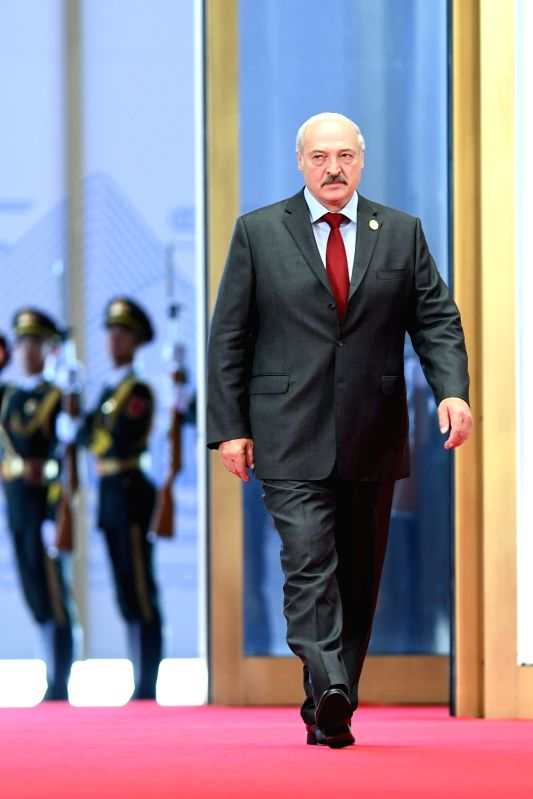 QINGDAO, June 10, 2018 - Belarusian President Alexander Lukashenko arrives for a session of the 18th Shanghai Cooperation Organization (SCO) summit in Qingdao, east China's Shandong Province, June ...