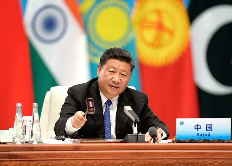 QINGDAO, June 10, 2018 - Chinese President Xi Jinping chairs the 18th Meeting of the Council of Heads of Member States of the Shanghai Cooperation Organization (SCO) in Qingdao, east China's Shandong ...