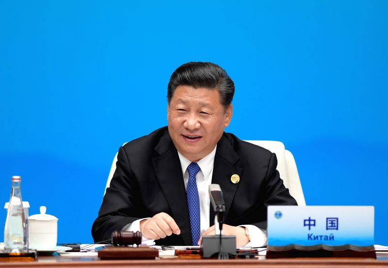 QINGDAO, June 10, 2018 - Chinese President Xi Jinping chairs a restricted session of the 18th Shanghai Cooperation Organization (SCO) summit in Qingdao, east China's Shandong Province, June 10, 2018.
