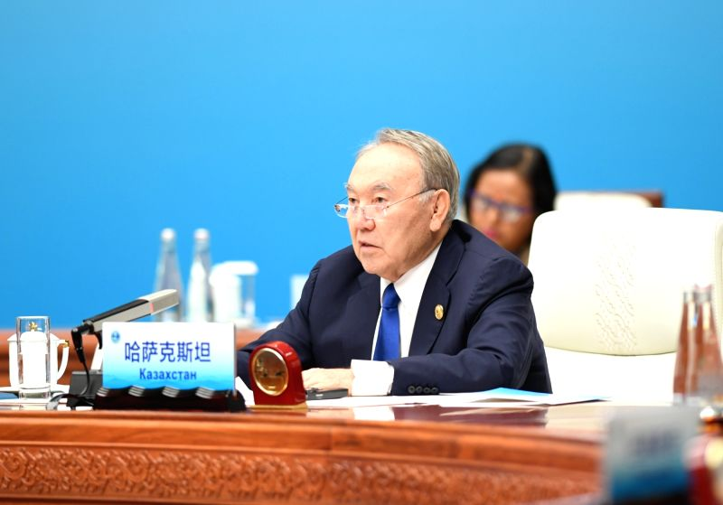 QINGDAO, June 10, 2018 - Kazakh President Nursultan Nazarbayev speaks at a restricted session of the 18th Shanghai Cooperation Organization (SCO) summit in Qingdao, east China's Shandong Province, ...