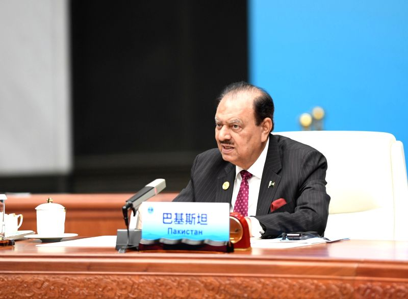 QINGDAO, June 10, 2018 - Pakistani President Mamnoon Hussain speaks at a restricted session of the 18th Shanghai Cooperation Organization (SCO) summit in Qingdao, east China's Shandong Province, June ...