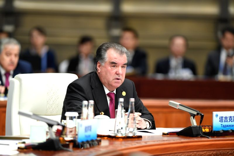 QINGDAO, June 10, 2018 - Tajik President Emomali Rahmon speaks at a restricted session of the 18th Shanghai Cooperation Organization (SCO) summit in Qingdao, east China's Shandong Province, June 10, ...