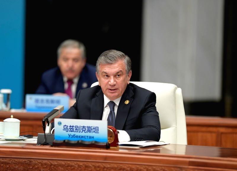 QINGDAO, June 10, 2018 - Uzbek President Shavkat Mirziyoyev speaks at a restricted session of the 18th Shanghai Cooperation Organization (SCO) summit in Qingdao, east China's Shandong Province, June ...
