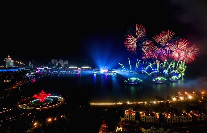 QINGDAO, June 9, 2018 - A lights and fireworks show takes place in Qingdao, the host city of the 18th Shanghai Cooperation Organization (SCO) summit, in east China's Shandong Province, June 9, 2018.