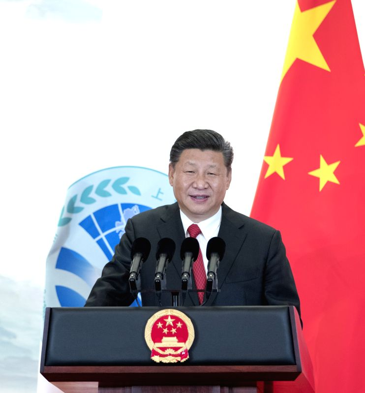 QINGDAO, June 9, 2018 - Chinese President Xi Jinping addresses a banquet held for guests attending the 18th Shanghai Cooperation Organization (SCO) summit in Qingdao, east China's Shandong Province, ...