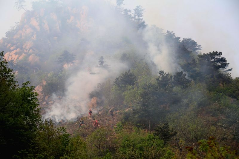 Firemen work at a forest fire site in Funing, north China's Hebei Province, April 23, 2014. Forest fires occurred in Tianjiagou village and Xingxingyu village .