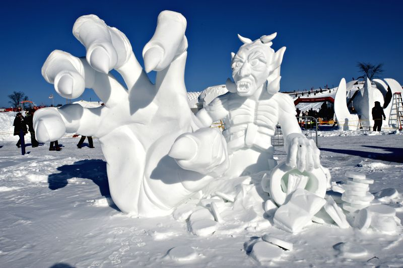 An ice statue is seen ahead of the International Ice Sculpture competition, part of the Quebec Winter Carnival, in Quebec City, Quebec of Canada, Feb. 7, 2015. ..