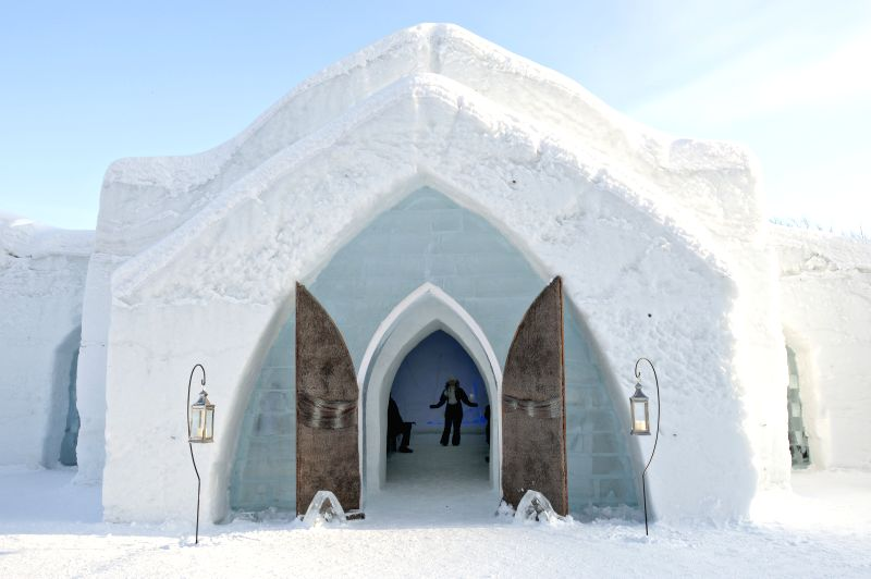 The photo taken on Feb. 6, 2015 shows the entrance to an ice hotel which is presented to the public in the north of Quebec City, Canada. The hotel that boasts some .