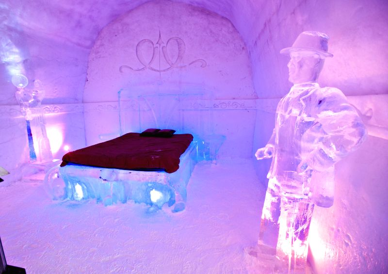 The photo taken on Feb. 6, 2015 shows a guest room of an ice hotel which is presented to the public in the north of Quebec City, Canada. The hotel that boasts some .