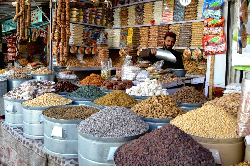 A vendor waits for customers at a shop in southwest Pakistan's Quetta on Nov. 19, 2014. Dried fruits are popular among Pakistani people in winter.