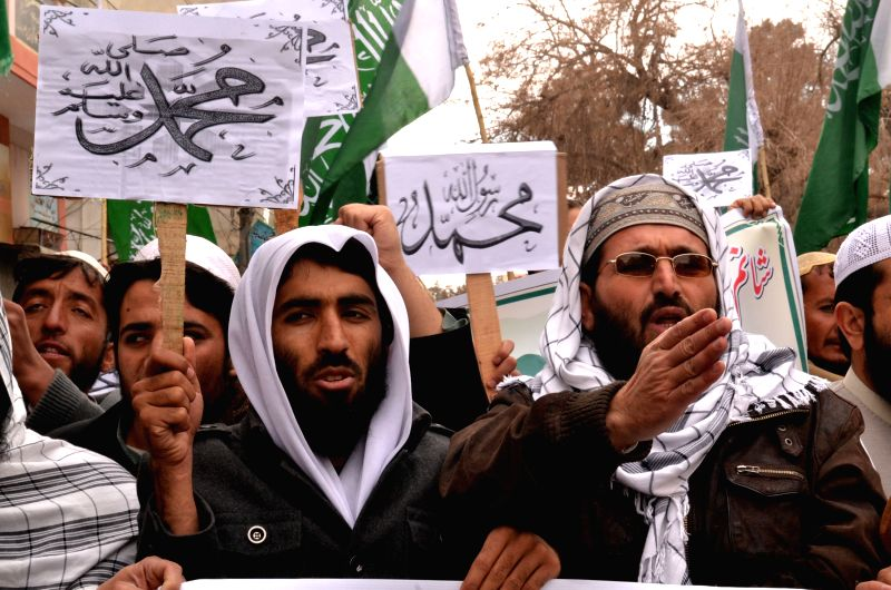 Pakistani Islamists shout slogans during a protest against the printing of satirical sketches of the Prophet Mohammad by French magazine Charlie Hebdo in southwest ..