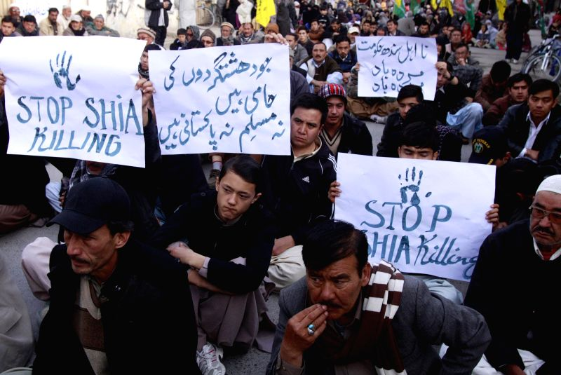 Pakistani Shiite Muslims attend a protest against deadly blast at Shiite Muslims Mosque in southwest Pakistan's Quetta on Jan. 31, 2015. The death toll of a bomb ...