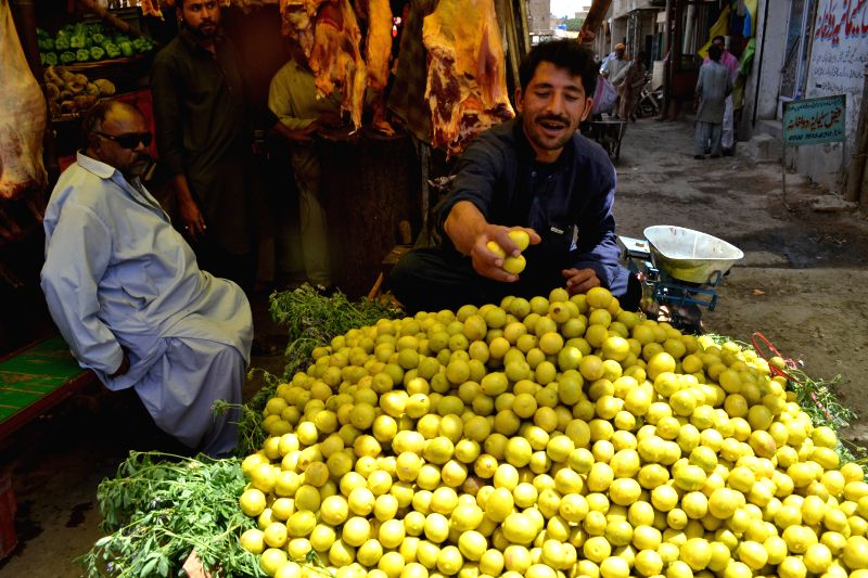 A man sells lemon during holy month of Ramadan in southwest Pakistan's Quetta, July 18, 2014. Muslims around the world celebrate Ramadan in which they abstain from ..