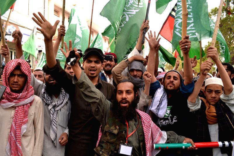Pakistani activists chant slogans during a demonstration in support of Saudi Arabia over its intervention in Yemen, in southwest Pakistan's Quetta, March 30, 2015. ... - Nawaz Sharif