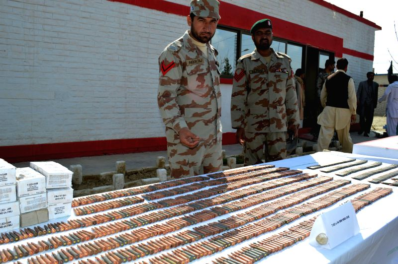 Pakistani security officials display seized ammunition to media in southwest Pakistan's Quetta, on March 6, 2015. Frontier Corps (FC) on Friday foiled terror bids ...