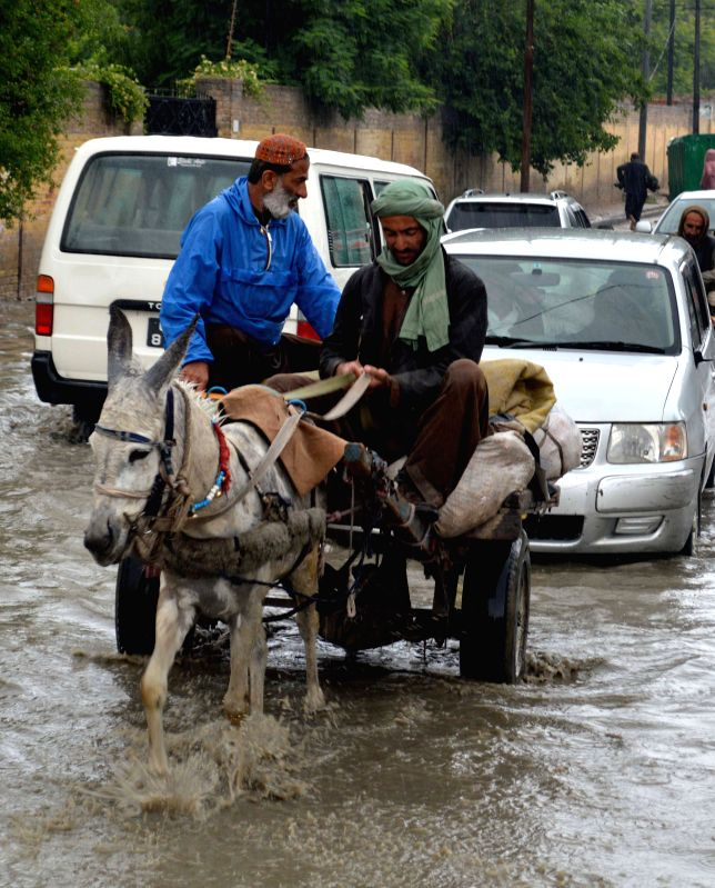 Laborers ride on a donkey-cart through a waterlogged street during heavy rains in southwest Pakistan's Quetta on May 18, 2014. At least nine people were killed during