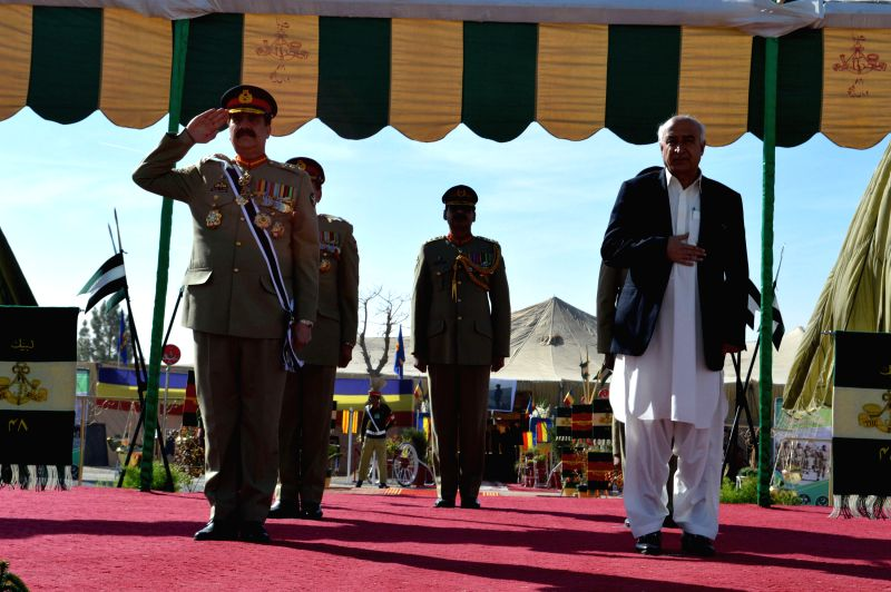 Pakistani Army Chief General Raheel Sharif (L, front) witnesses a passing out parade in southwest Pakistan's Quetta on Dec. 16, 2014. As many as 580 cadet officers from Balochistan were ...