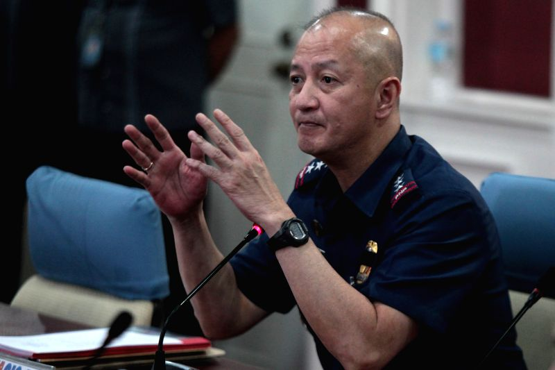Deputy Director General Leonardo Espina, the acting Philippine National Police (PNP) Chief speaks during the PNP Command Conference inside Camp Crame in Quezon ..