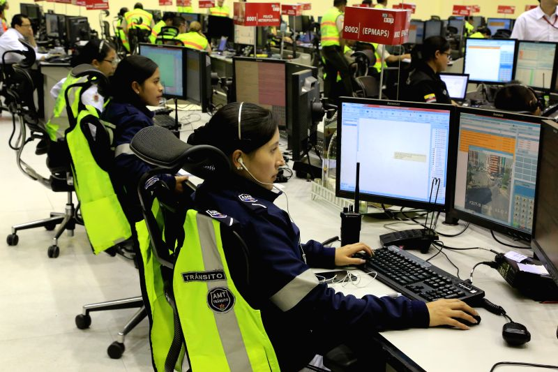 QUITO, April 18, 2017 - Employees work at the ECU 911 Center in Quito, Ecuador, on April 7, 2017. The ECU 911 service, Ecuador's integrated emergency service hotline, was developed by the China ...