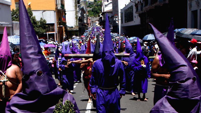 "Cucuruchos"" participate in the procession of ""Jesus del Gran Poder"", in Quito, Ecuador, on April 18, 2014. Thousands of parishioners ..."