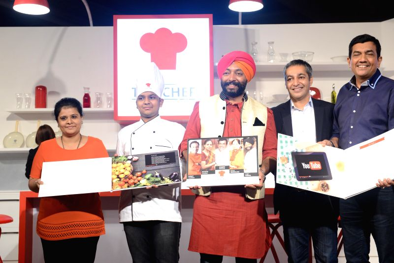 R Sanjana, Yaman Agarwal, Chef Harpal Singh Sokhi, Director of Content and Operations, YouTube Asia Pacific Gautam Anand, Chef Sanjeev Kapoor at the launch of a Coffee table book in New Delhi on Aug . - Harpal Singh Sokhi and Sanjeev Kapoor