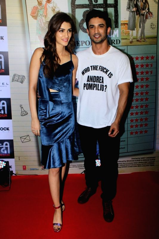 Raabta couple Sushant Singh Rajput and Kriti Sanon during the success party of film Hindi Medium in Mumbai on May 27, 2017. - Sushant Singh Rajput