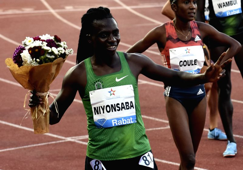 RABAT, July 14, 2018 - Burundi's Francine Niyonsaba celebrates after winning the women's 800m at the IAAF Diamond League meeting in Rabat, Morocco, July 13, 2018. Francine Niyonsaba claimed the title ...