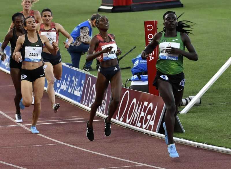 RABAT, July 14, 2018 - Burundi's Francine Niyonsaba (1st R) crosses the finish line during the women's 800m at the IAAF Diamond League meeting in Rabat, Morocco, July 13, 2018. Francine Niyonsaba ...