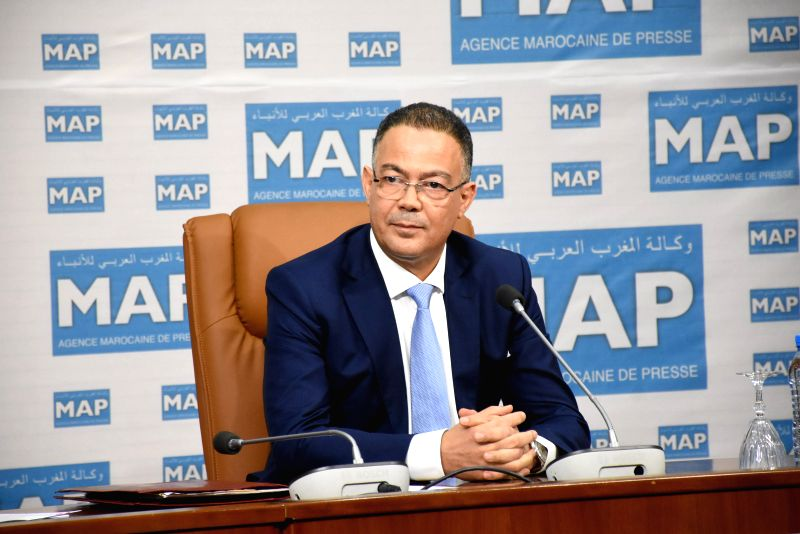 RABAT, July 25, 2018 - The President of the Moroccan Royal Football Federation (FRMF) Fouzi Lekjaa speaks during a press conference in Rabat, Morocco, July 24, 2018. Fouzi Lekjaa confirmed that ...