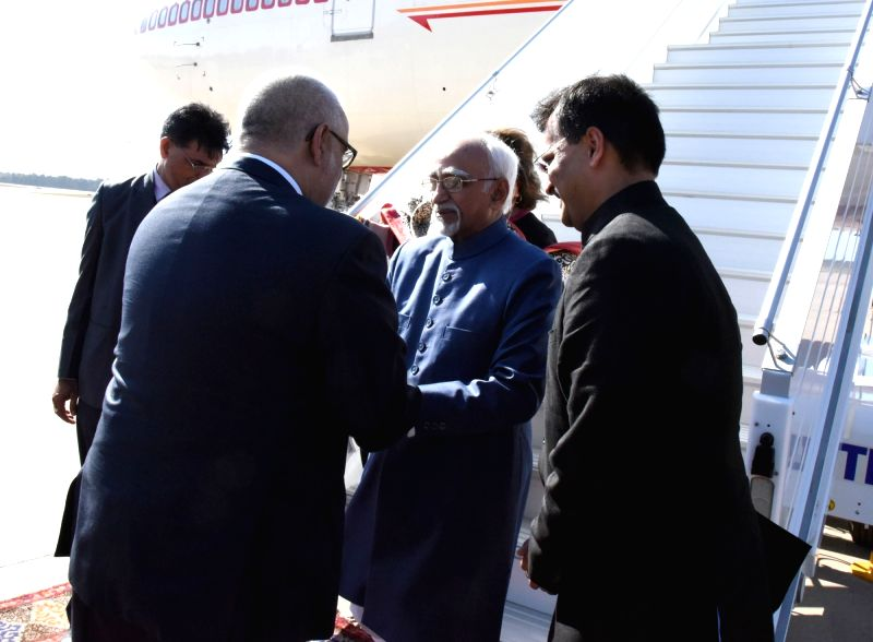 Rabat (Morocco): Vice President M. Hamid Ansari being received by the Prime Minister of Morocco, Abdelilah Benkirane on his arrival, at Sale International Airport, in Rabat, Morocco on May 30, 2016.
