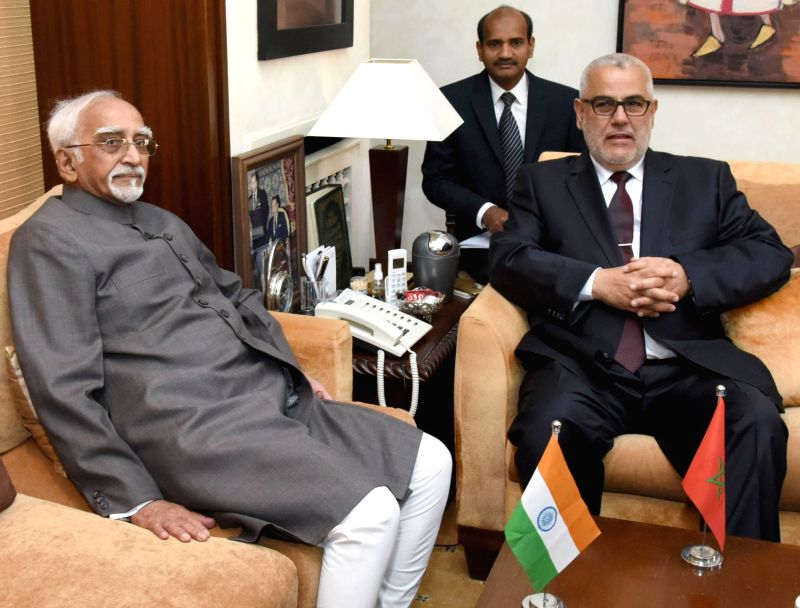 Rabat (Morocco) : Vice President M Hamid Ansari meets the Prime Minister of Morocco Abdelilah Benkirane, in Rabat, Morocco on May 31, 2016.