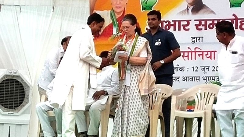Rae Bareli: UPA Chairperson and newly elected Congress MP from Rae Bareli, Sonia Gandhi during a programme organised by the party to thank the voters of Rae Bareli for re-electing her with an overwhelming margin in the 2019 Lok Sabha elections, on Ju