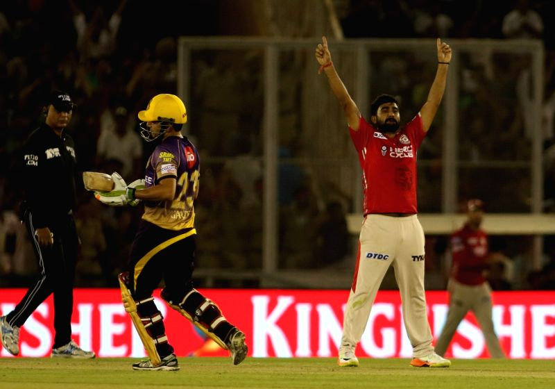 Rahul Tewatia of Kings XI Punjab celebrates fall of Gautam Gambhir's wicket during an IPL 2017 match between Kings XI Punjab and Kolkata Knight Riders at Punjab Cricket Association IS Bindra ...