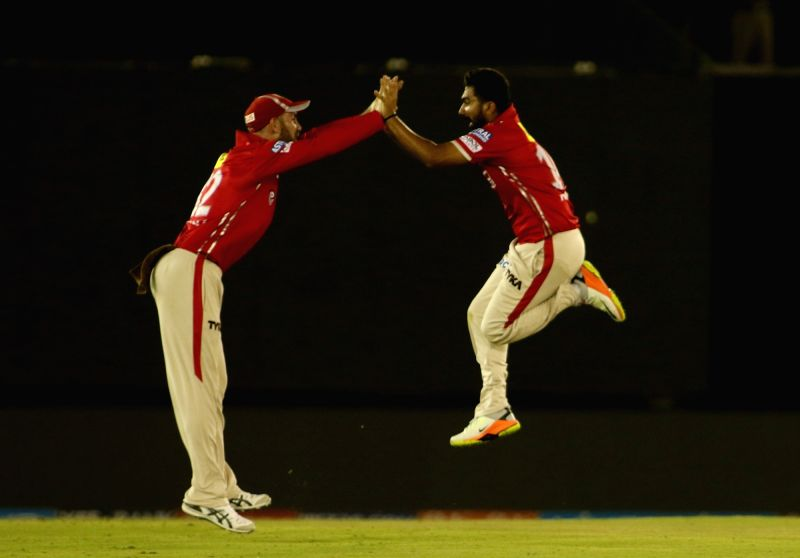 Rahul Tewatia of Kings XI Punjab celebrates fall of Robin Uthappa's wicket during an IPL 2017 match between Kings XI Punjab and Kolkata Knight Riders at Punjab Cricket Association IS Bindra ...