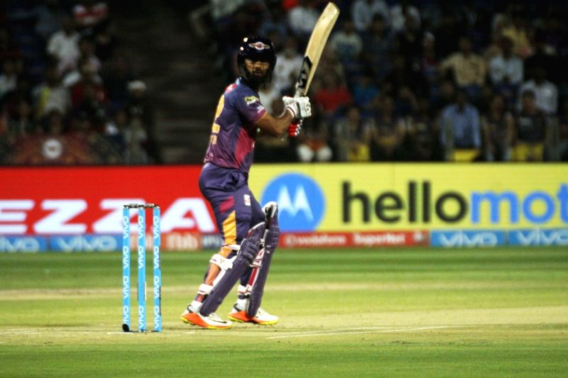Rahul Tripathi of Rising Pune Supergiant in action during an IPL 2017 match between Rising Pune Supergiant and Kolkata Knight Riders at Maharashtra Cricket Association Stadium in Pune on April ... - Rahul Tripathi