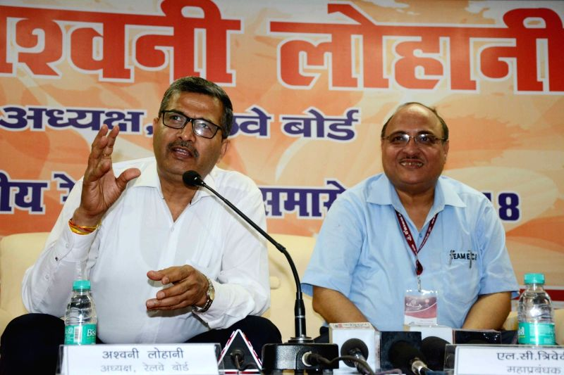 Railway Board Chairman Ashwani Lohani addresses a press conference in Patna on April 13, 2018.