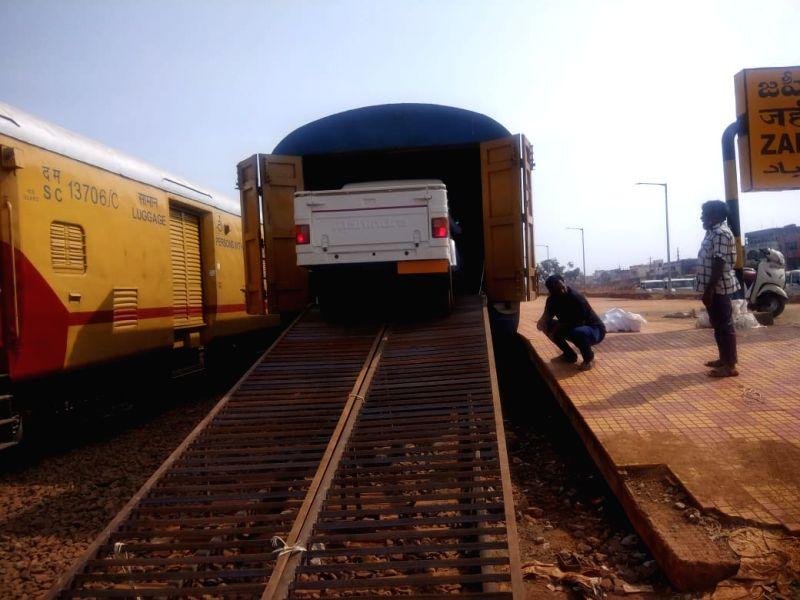 Railways transport vehicles from Zahirabad to Tripura.