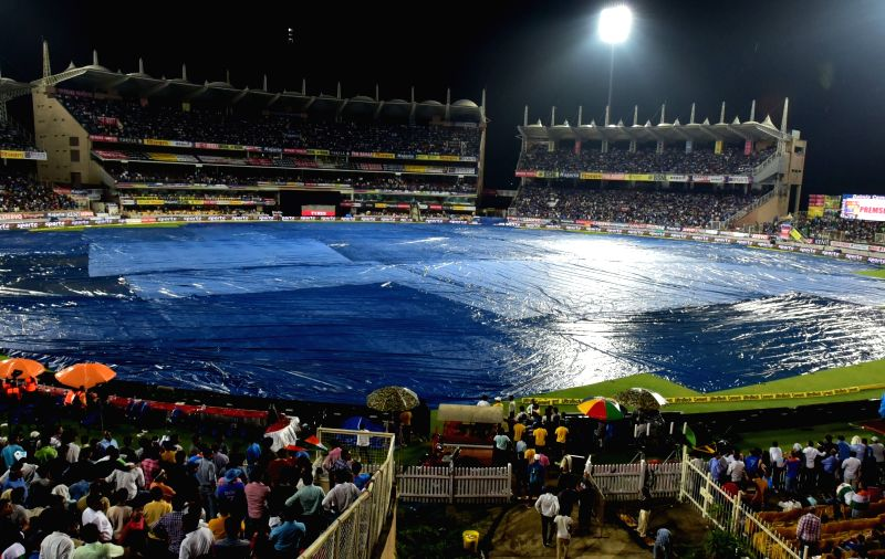 Rains disrupt the first T20 match between India and Australia at JSCA International Stadium in Ranchi on Oct 7, 2017.