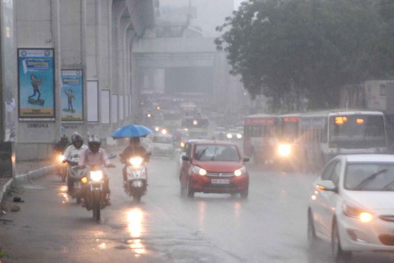 Rains lash Hyderabad on July 17, 2017.