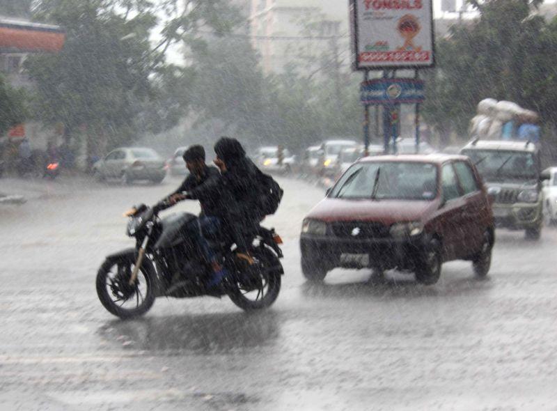 Rains lash Hyderabad on July 18, 2016.