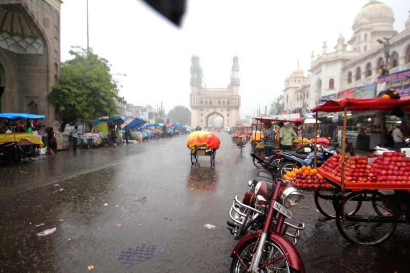 Rains lash Hyderabad on July 19, 2016.