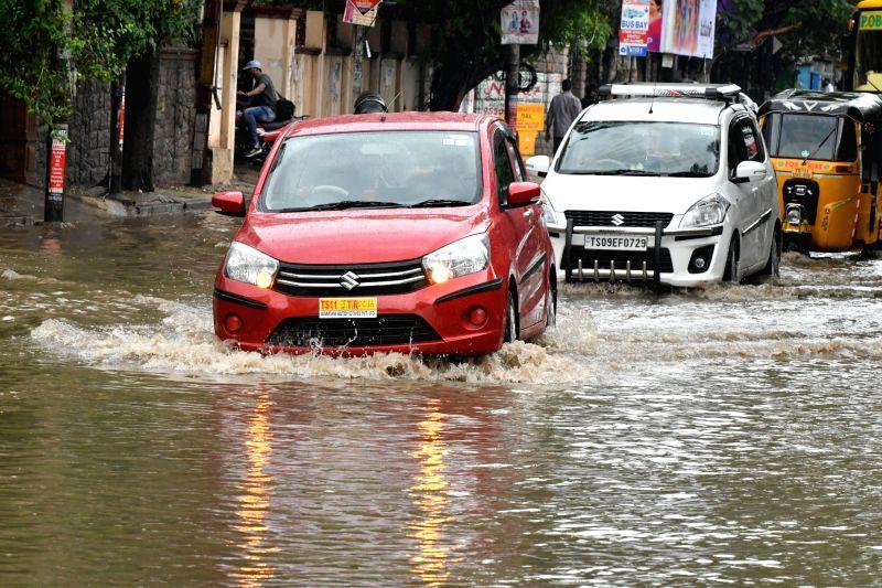 Rains lash Hyderabad on July 27, 2016.