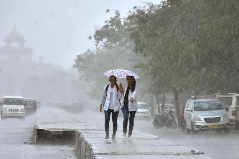 Rains lash Jaipur on July 17, 2017.