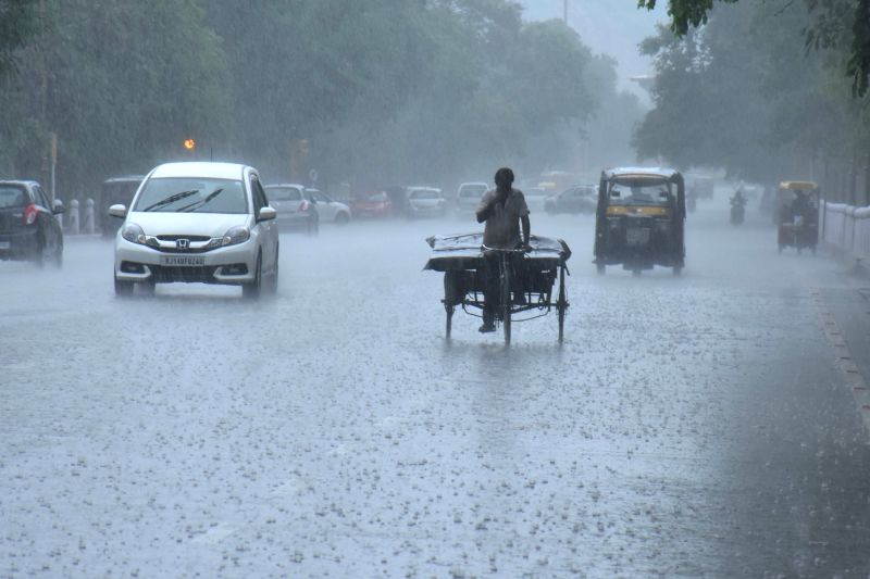 Rains lash Jaipur on July 29, 2016.